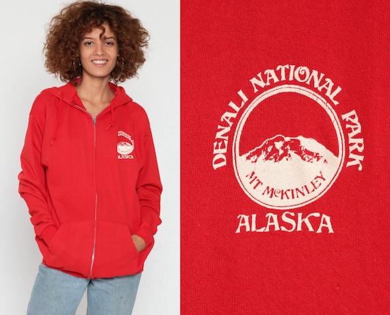 Hoodie Sweatshirt DENALI NATIONAL PARK Alaska Shirt 90s Hooded Sweatshirt Hood Graphic Zip Up Red 80s Sweater Vintage Medium Large