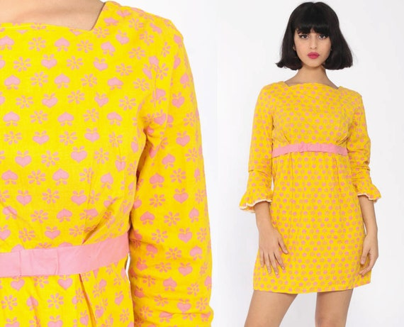 Heart Print Babydoll Dress 60s Mini Mod Shift Yellow Baby Pink Kawaii Boho Bow Empire Waist 70s Bohemian Hippie Vintage Extra Small xs s