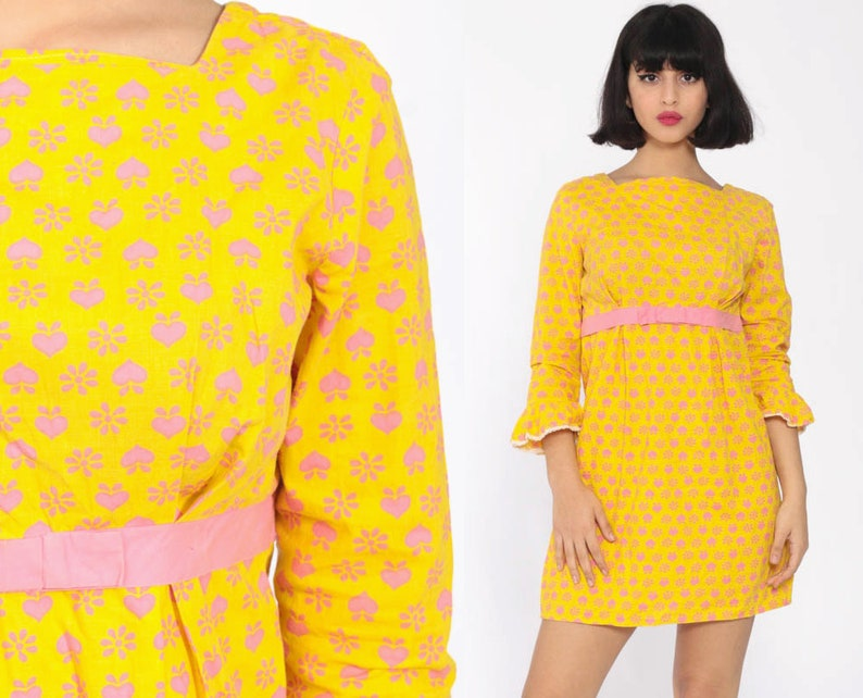 Heart Print Babydoll Dress 60s Mini Mod Shift Yellow Baby Pink Kawaii Boho  Bow Empire Waist 70s Bohemian Hippie Vintage Extra Small xs s