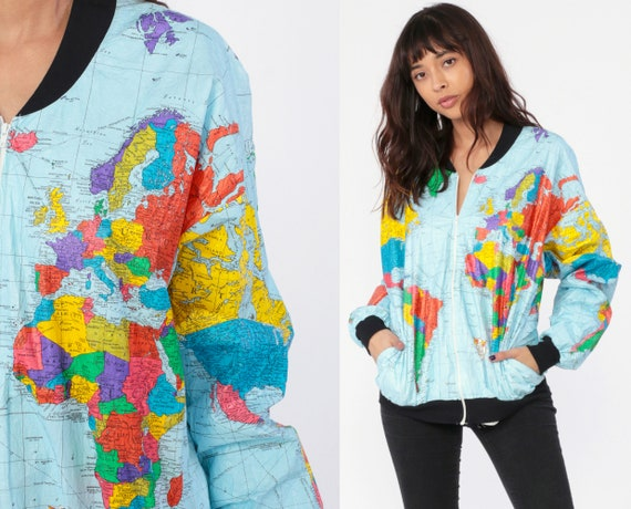 World MAP Jacket 90s Ty Breakers Wearin The World Tyvek Dupont Bomber  Jacket Windbreaker Travel Retro Vintage 80s Atlas Small Medium Large