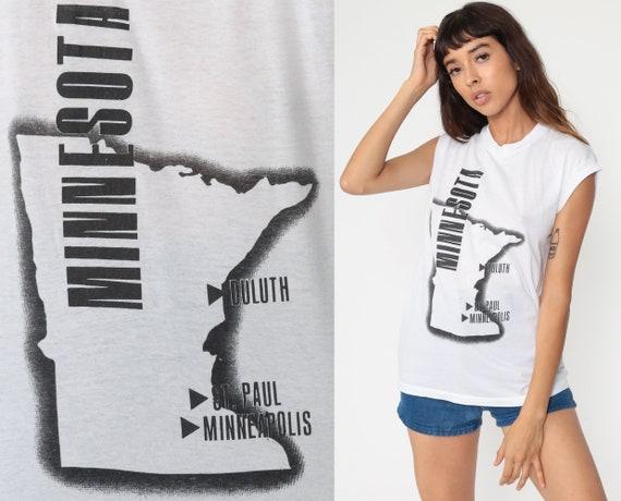 Minnesota Tshirt 80s Graphic Tee Muscle Tee us Map State T Shirt Retro Travel Top Vintage 1980s Single Stitch Small Medium
