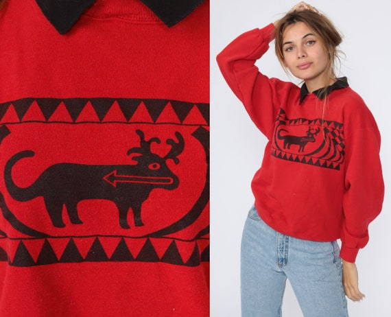 90s Moose Sweatshirt Red Collared Animal Sweatshirt Graphic Print Jumper Slouchy 1990s Sweater Vintage Small S