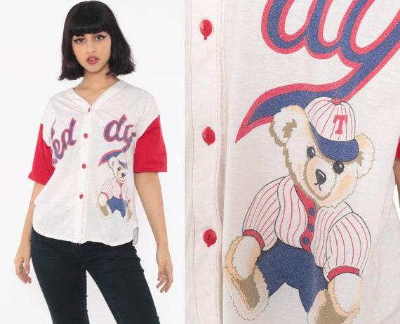 Teddy Bear Pajama Shirt Baseball Top Button Up Shirt Number 18 Shirt 90s Graphic Tshirt Retro Tee Kawaii Red Vintage Medium