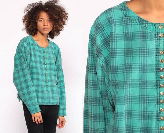 Grunge Shirt 90s Plaid Shirt Green Plaid Blouse Button Up Shirt 80s Vintage Long Sleeve Blouse Tartan Top Medium