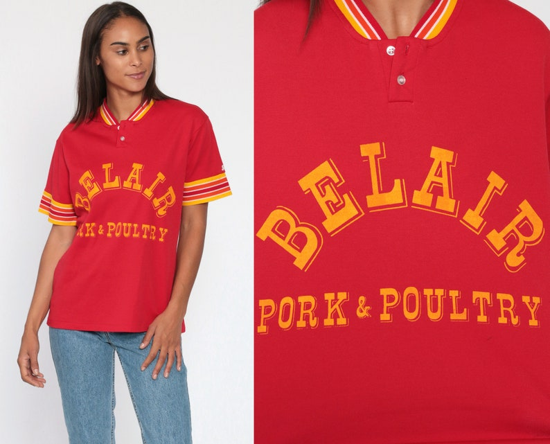 Vintage Uniform Shirt 70s BELAIR PORK /& POULTRY Polo Shirt Red Half Button Up Shirt Collared 80s Swingster Ringer Retro Vintage Small Medium