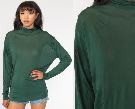 Green Silk Shirt 90s SHEER Turtleneck Long Sleeve Top Silky Semi Sheer 1990s Basic Plain Vintage Retro Top Extra Large xl l