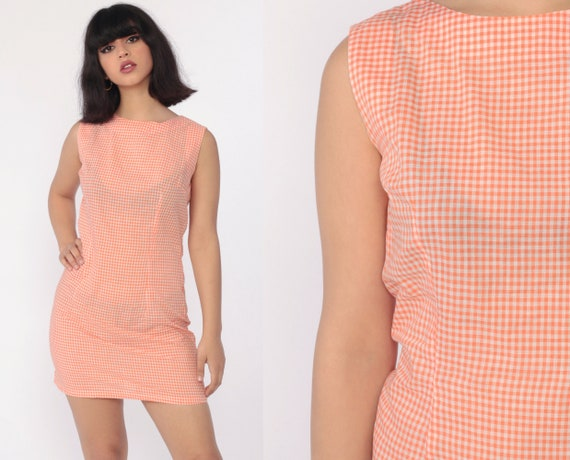 Orange Gingham Dress 70s Mini Dress Sheath Checkered Print White 60s Shift Sleeveless Plaid Vintage MiniDress Summer Small