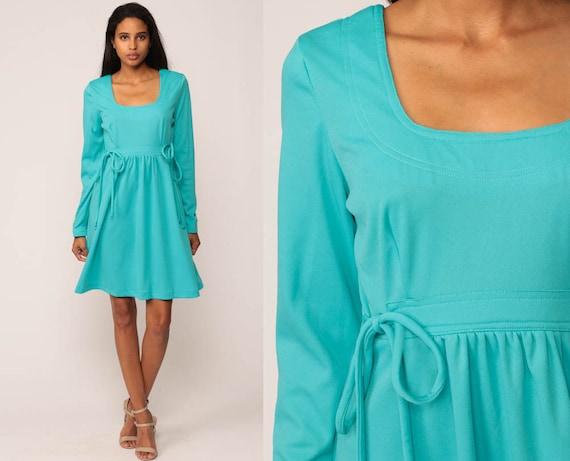 70s Mini Dress Babydoll Mod Empire Waist Hippie Turquoise Blue 60s Dolly Twiggy Long Sleeve Vintage Boho MiniDress Bright Small