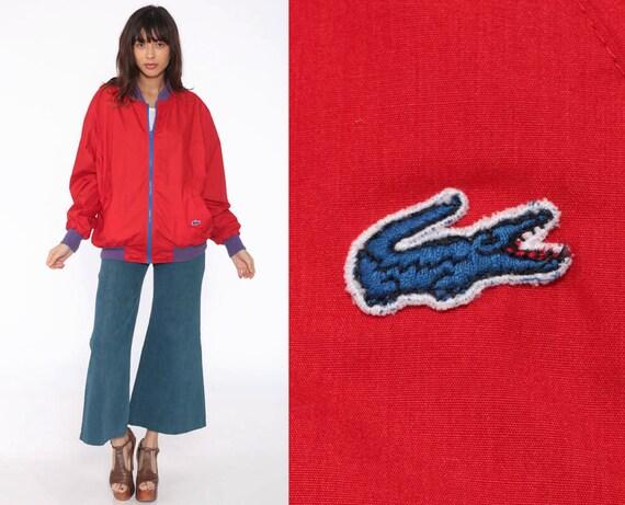 Reversible Lacoste Jacket 80s Windbreaker Bomber Jacket Baseball Red Royal Blue Crocodile Coat Bright Vintage 1980s Extra Large XL l