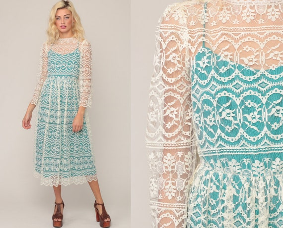 Lace Party Dress 70s Boho Off-White TURQUOISE LINED Bohemian Wedding Party Midi Sheer Long Sleeve 1970s Hippie Vintage Hippy Extra Small xs