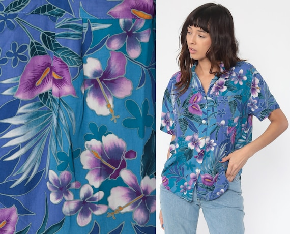 Tropical Floral Shirt 90s HAWAIIAN Blouse Blue Rayon Button Up Vintage Surfer Vacation Short Sleeve Pink Retro Top 1990s Small