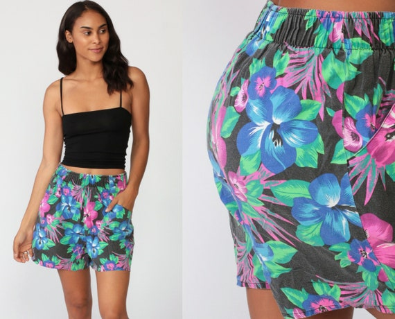 Tropical Floral Shorts 80s Shorts Mom Shorts Jungle Purple Summer Boho Hippie High Waisted Retro Bohemian Vintage 90s Blue Small Medium