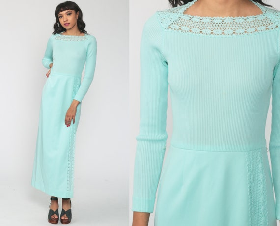 Seafoam Maxi Dress 70s Crochet Dress Maxi Mod Bohemian Hippie 1970s High Waisted Boho Knit Party Cocktail Vintage Long Sleeve Extra Small xs