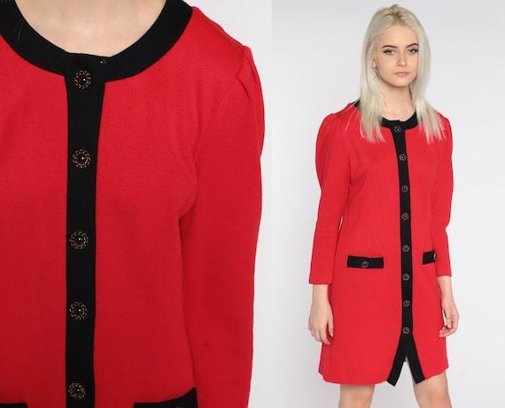 Red Mini Dress 80s Button Up Dress Mini Long PUFF SLEEVE Dress Acrylic Knit Black Trim Vintage Shift 1980s Plain Secretary Sheath Small