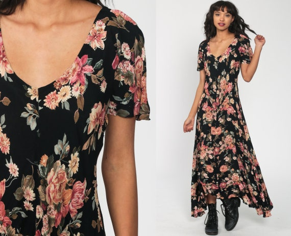 Black Floral Dress Maxi 90s GRUNGE Boho Dress 1990s Bohemian Low Waist Vintage Short Sleeve Scoop Neck Long Medium