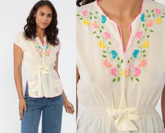 70s Embroidered Top Boho Cotton Blouse FLORAL Semi Sheer Pastel Hippie Shirt Boho 1970s Bohemian Festival Cream Off-White Cap Sleeve Small