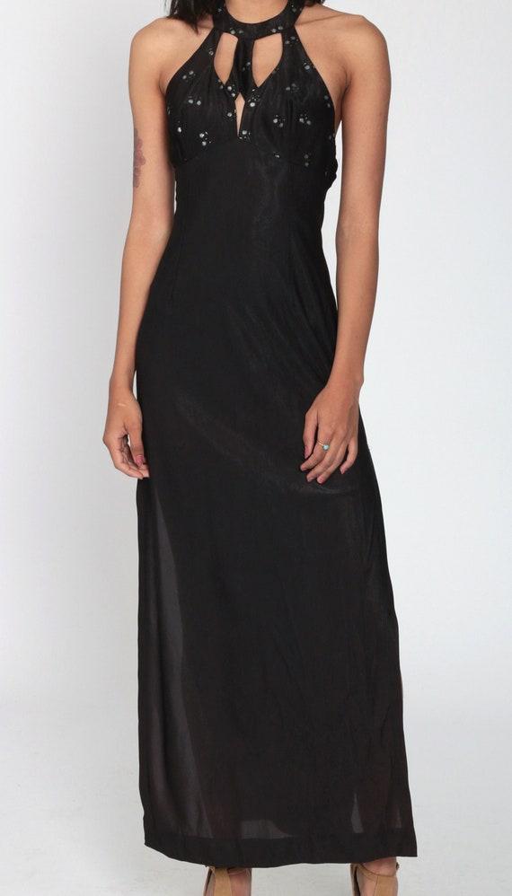 Black Party Dress 70s Choker Dress Cut Out Dress … - image 6