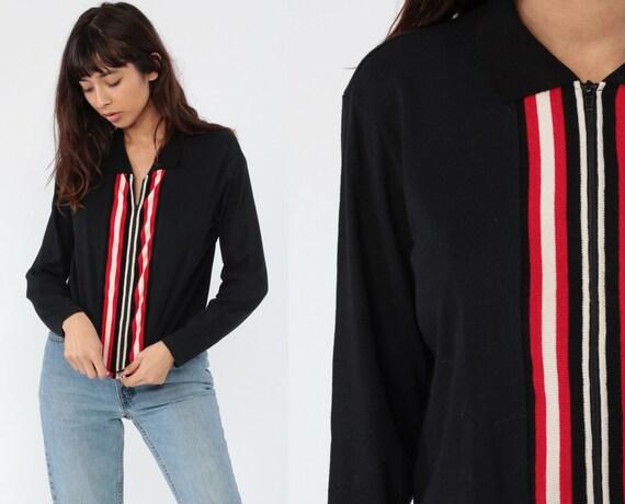 Black Striped Shirt 90s Zip Up Top Long Sleeve Blouse Red White 00s Y2K Shirt Retro T Shirt Vintage 1990s Medium