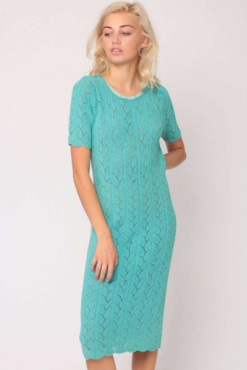 c08d2bc478a Knit Dress 70s Midi Sweater Dress Boho SHEER Dress Cutout
