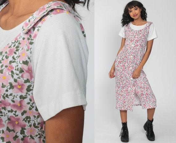 90s Jumper Dress ATTACHED SHIRT Pink Floral Pinafo