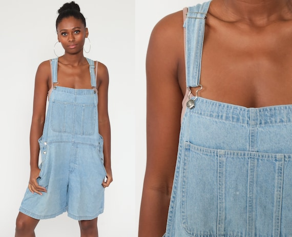 Denim Overall Shorts xl Jean Overalls 90s Grunge Jean Pocket Bibs Blue Streetwear Woman 1990s Vintage Cargo Extra Large xl
