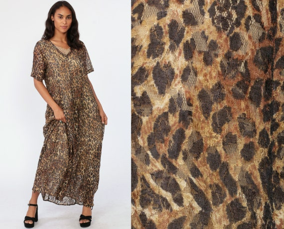 90s Leopard Dress ANIMAL PRINT 1990s Maxi Trapeze Semi Sheer Gauze Drape Short Sleeve Black Brown Romantic Short Sleeve Medium