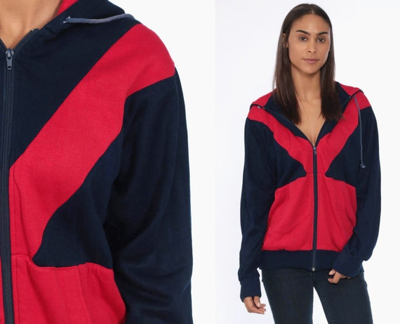 80s Hooded Zip Up Sweatshirt -- 1990s Hoodie Track Jacket Sweatshirt Red Color Block Sweatshirt Hood Slouchy Vintage Small Medium