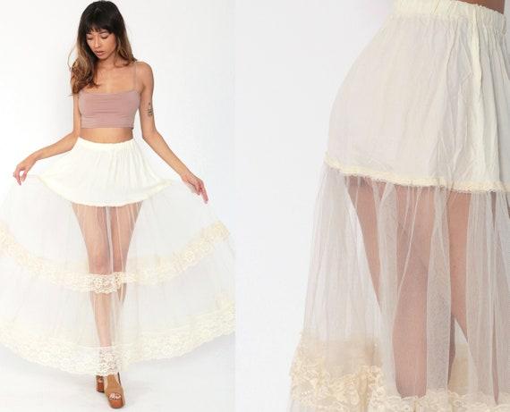 70s Petticoat Skirt Gunne Sax Tulle Skirt Jessica's Gunnies Maxi Lingerie Cream Lace Boho Bohemian Hippie 1970s Vintage Extra Small xs s
