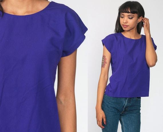 Plain Purple Top 80s Polyester Rayon Blouse Plain T Shirt 90s Shirt Cap Sleeve Top Retro Tee Vintage Basic Women Short Sleeve Extra Small xs