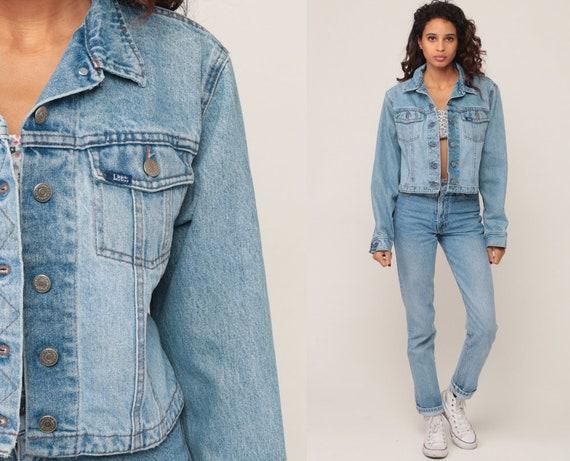 Cropped Jean Jacket Blue Denim Jacket 90s Jean Vintage Lee Jean Jacket Button Up Hipster 1990s Grunge Crop Coat Extra Small xs xxs