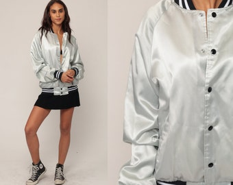 Baseball Jacket Satin Bomber Jacket Silver Jacket GALAXY Metallic 80s Letterman Coat White Rockabilly 1980s Vintage Snap Up Large io7ss