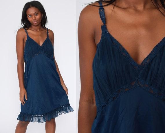 Blue Slip Dress Lingerie Slip Dress 70s Midi Full Slip Vintage Boho 1970s Spaghetti Strap Plus Size Extra Large xxl 2xl