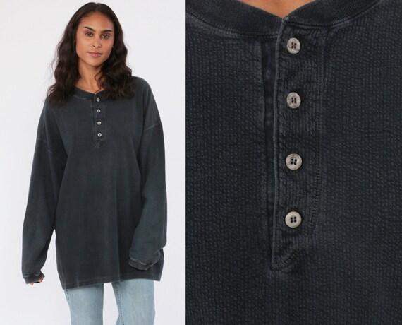 Black Thermal Shirt Long Sleeve Shirt POLO Shirt WAFFLE KNIT Henley T Shirt Faded 90s Grunge Tshirt Vintage Plain Extra Large xl xxl