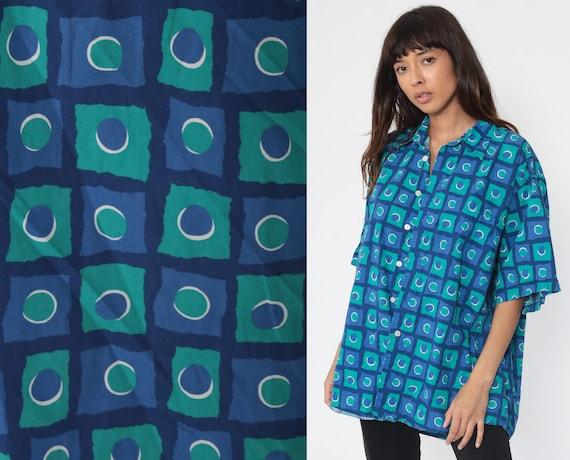Blue Button Up Shirt Geometric Shirt Circle Top 90s Grunge Print Vintage Oversized Down Short Sleeve Shapes Retro Men's Extra Large xl