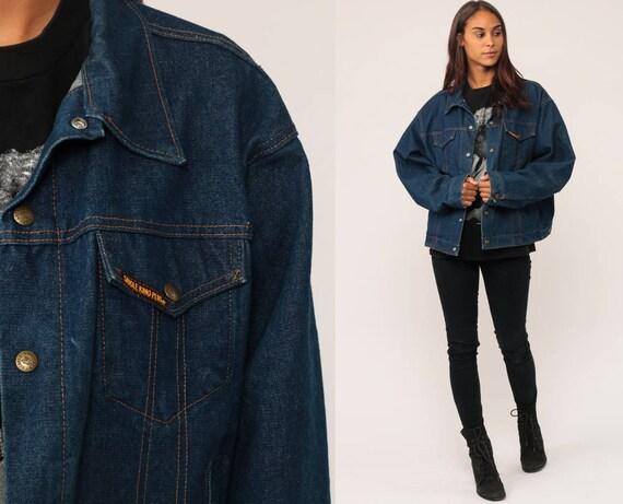 Denim Jacket 70s Jean Jacket Boho Blue Biker Normcore Grunge Trucker Vintage Bohemian 1970s Hipster Button Up Medium BItoQv