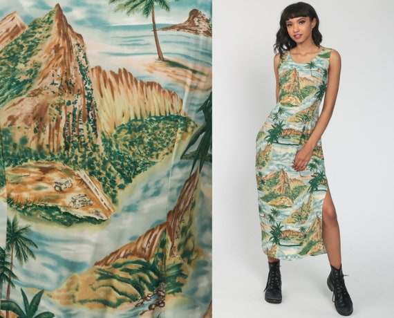 Hawaiian Mountain Dress 90s Maxi Dress Floral Side Slit TROPICAL Boho Palm Tree Sheath Vintage Sleeveless Green Small