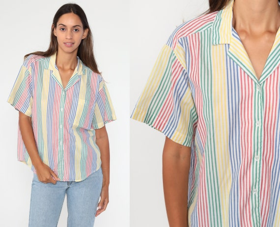 Primary Color Shirt 80s Shirt DVF Button Up Shirt Striped Top Red Yellow Blue Green POCKET Simple 1990s Short Sleeve Vintage Medium