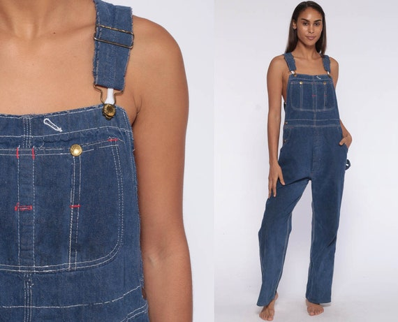 90s Workwear Overalls -- Women Denim GRUNGE Pants Jean Dungarees Wide Leg Baggy Coveralls Long 80s Hipster Dark Blue Carpenter Medium