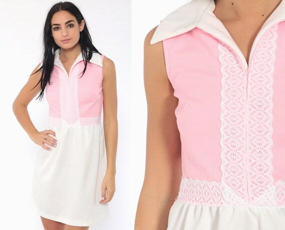 60s Mini Dress Pink + White Mod Dress Lace Trim 70s Gogo High Waist Babydoll Vintage Sixties Twiggy Go go Sleeveless MiniDress Small