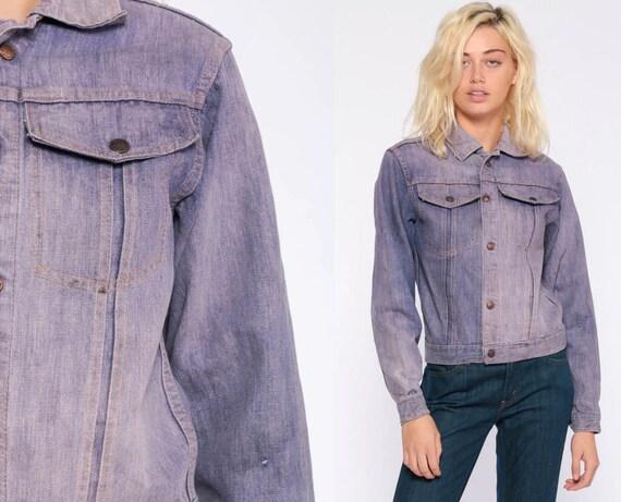 Purple Jean Jacket xxs 70s Denim Jacket Jean Jacket Boho Hippie Denim Jacket Vintage 1970s Hipster Extra Small xs