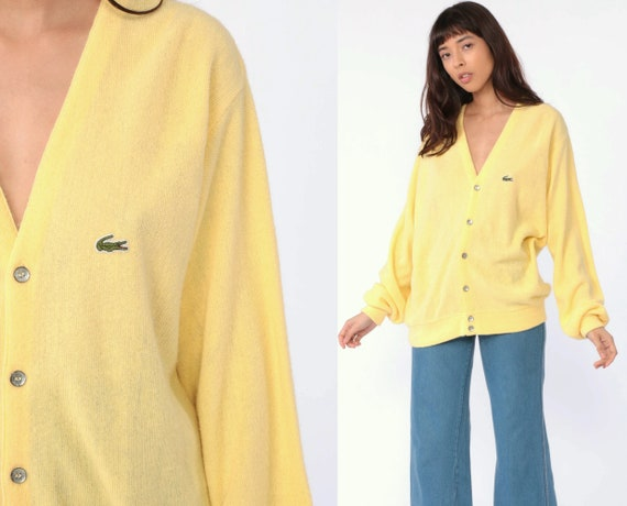 Yellow Lacoste Cardigan Sweater 80s Yellow Button Up IZOD Crocodile Slouchy Vintage 1980s Preppy Hipster Oversize Pastel Grandpa Large