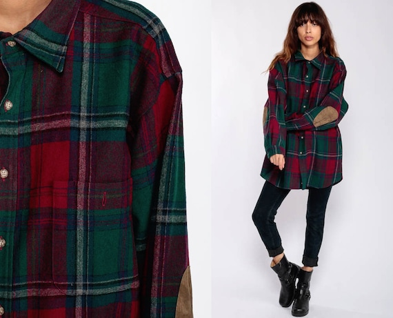 Pendleton Shirt 90s Plaid Shirt Grunge Wool Flannel Button Down ELBOW PATCH Shirt Distressed Red Green Vintage Long Sleeve Extra Large xl