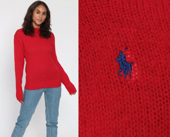 Ralph Lauren Sweater 90s WOOL Red Sweater Polo Sport Knit Slouchy Preppy Hipster Pullover Jumper 1990s Streetwear Vintage Plain Small
