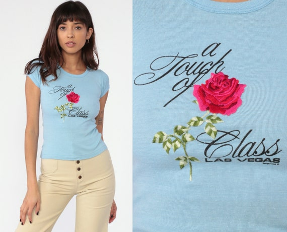 Rose T Shirt A TOUCH OF CLASS Retro TShirt 70s T Shirt Slogan Tee Shirt Floral Vintage Baby Blue Tee Graphic Print Extra Small xs