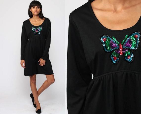 Babydoll Dress 70s Mod Mini SEQUIN BUTTERFLY Print Boho Empire Waist 1970s Vintage Black Bohemian Long Sleeve Minidress Small S