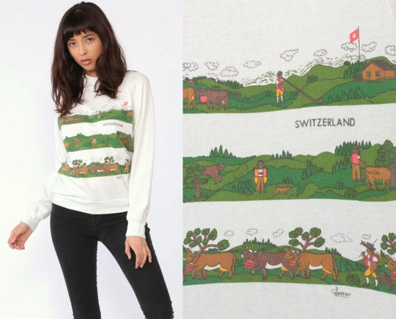 Switzerland Sweatshirt Swiss Alps Cow Shirt Raglan Sweatshirt 80s Graphic Raglan Sleeve Europe Travel Vintage Retro White Extra Small xs