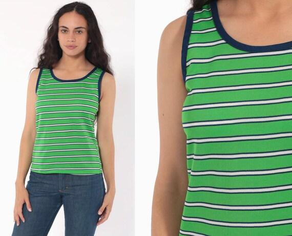 Striped Tank Top Green Ringer Tee Shirt 80s Retro Shirt Sleeveless Top 1980s Hipster Vintage Sports Blue Green Small Petite