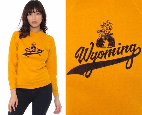 Wyoming Sweatshirt 80s Graphic University of Wyoming Cowboy Raglan Sleeve 1980s Mustard Yellow Sweater Vintage USA Extra Small xs xxs