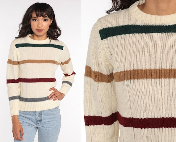 Cream Striped Sweater 80s Knit Grunge Sweater Slouch 1980s Jumper Vintage Pullover Retro Striped Small S