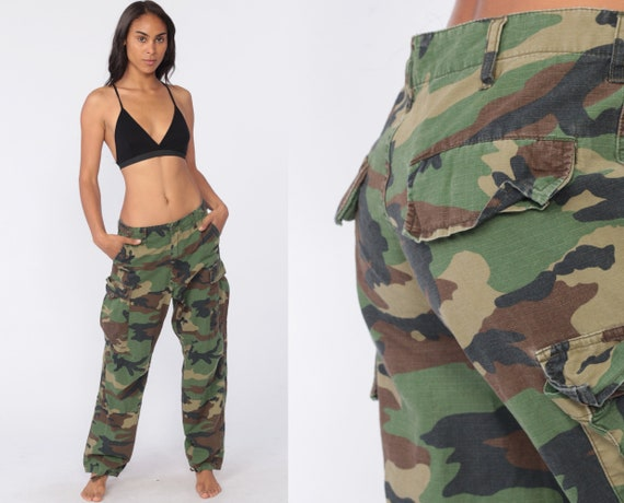Camo Army Pants CARGO Pants Military High Waisted Combat Olive Green Camouflage 80s Vintage Punk Grunge Olive Drab Army Small Medium 29